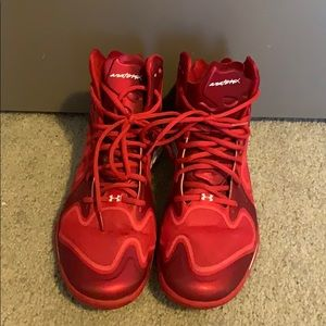 Men's Red Under Armour Anatomix Basketball Shoes